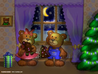 Teddy Bears Family Christmas Wallpaper
